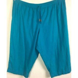 White Stag 26 Blue Linen Blend Pull On Capri Pants